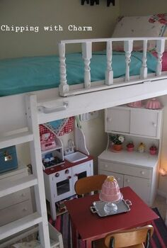 lofted cottage bed for our little girl s dream room, bedroom ideas, diy, home decor, painted furniture, repurposing upcycling