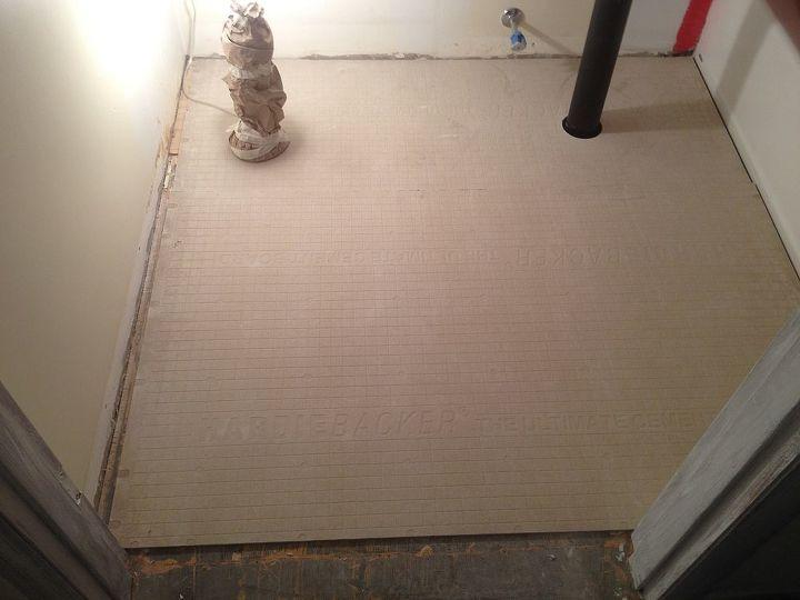 tiling bathroom floors use cement board to create a rock solid foundation, bathroom ideas, flooring, tile flooring, Add HardieBacker or Cement Board to your wood subfloor to create a rock solid substrate for ceramic or porcelain tile