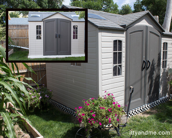 plain to creative checkerboard garden shed, outdoor living, painting