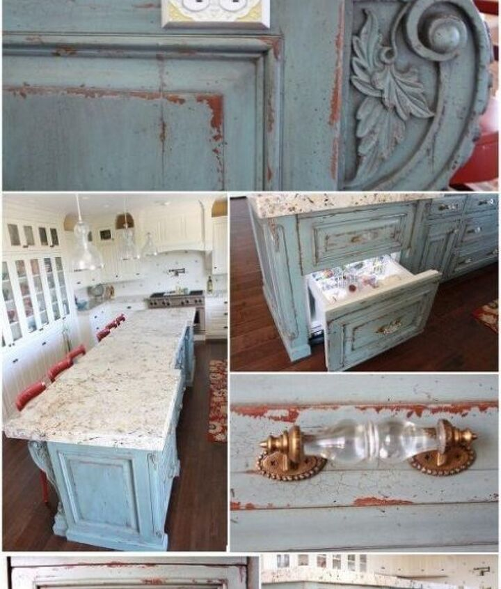 """Custom Antiqued Turquoise Island with """"Rock Candy"""" drawer pulls"""