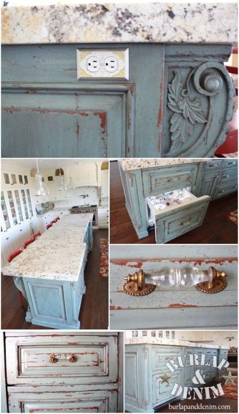 "Custom Antiqued Turquoise Island with ""Rock Candy"" drawer pulls"
