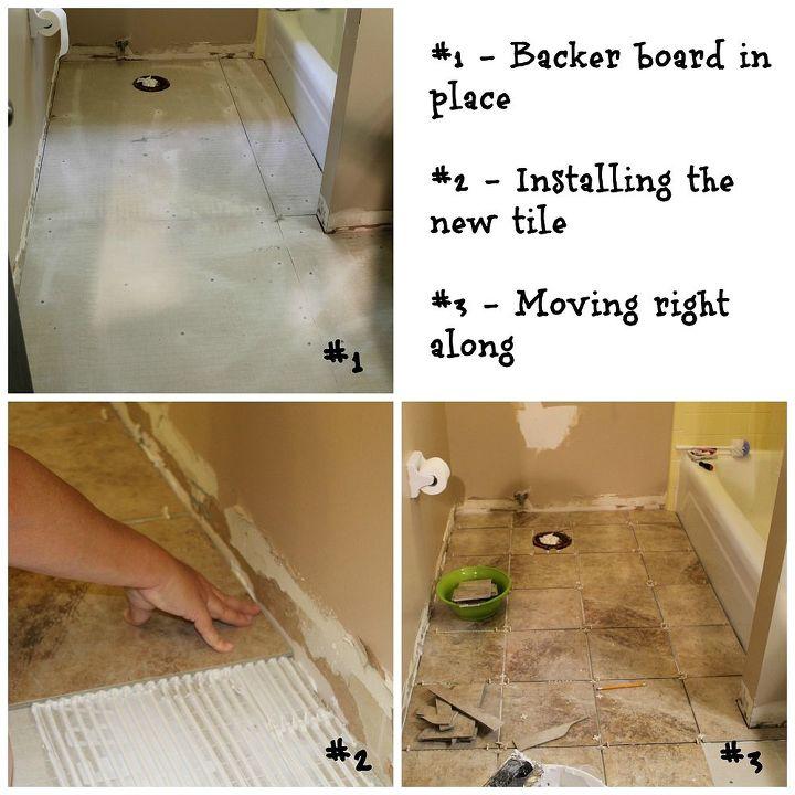 Installing backer board and porcelain tile.