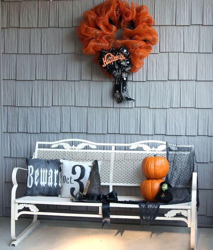 Spooky Orange and Black Mesh Vinyl Halloween Wreath