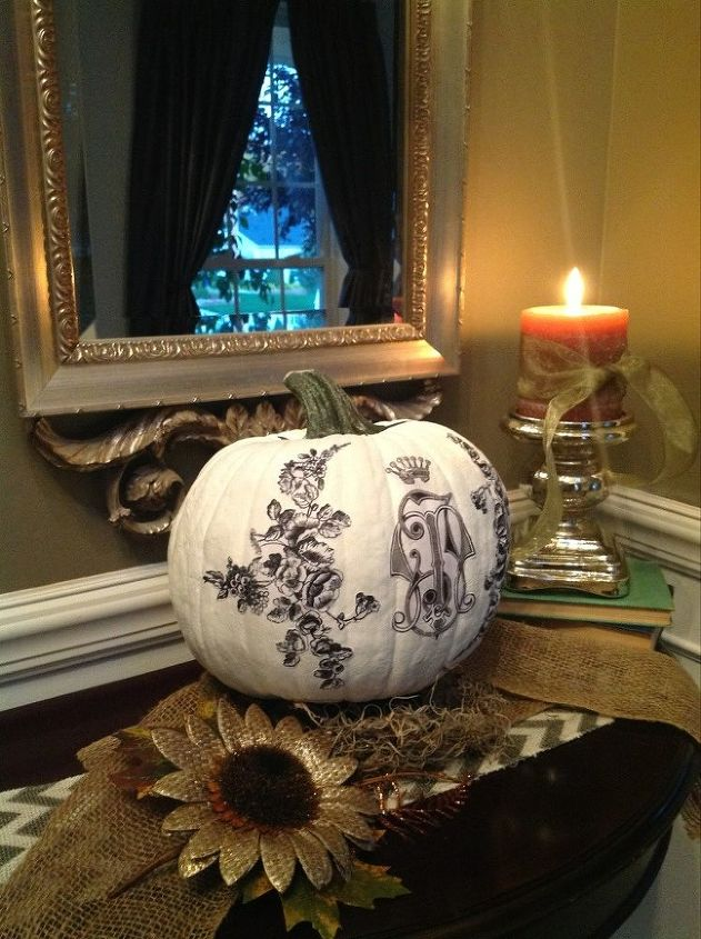DIY: Monogrammed Pumpkin --apply printed graphics while the paint is wet and hold until tacky, the image looks like it has always been there.