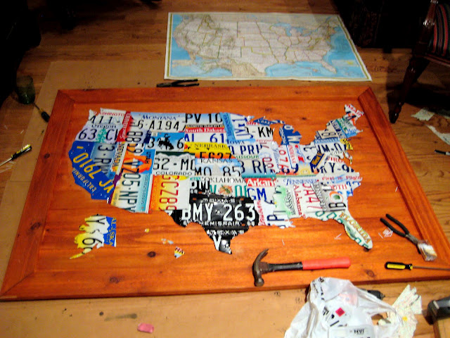DIY License Plate Map of USA | Hometalk on map of usa map, map of usa rainbow, map of usa baseball, map of usa color, map of usa flag, map of usa lights, map of usa time, map of usa driving, map of usa state,