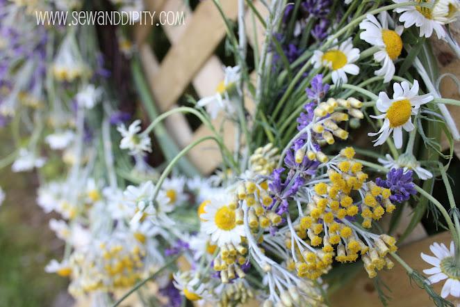 fresh herb wreath, crafts, gardening, wreaths, Chamomile Helichrysum and Lavender
