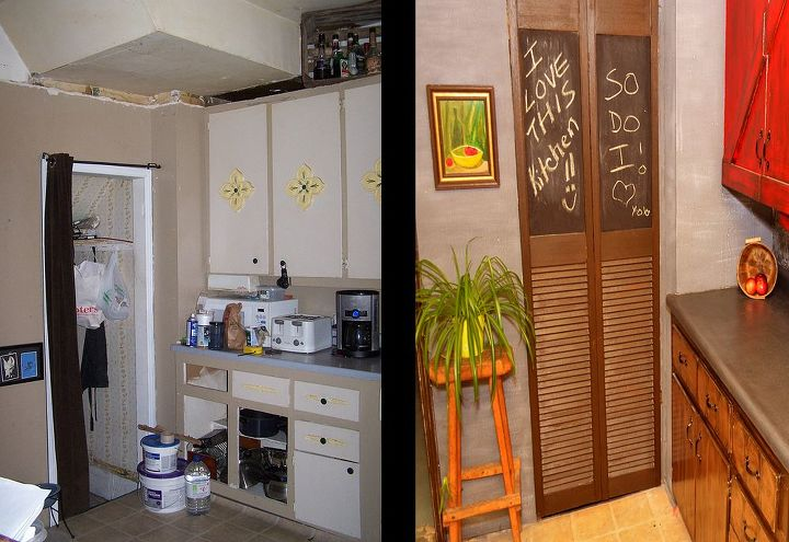 Here's a nice before and after of the left side of the kitchen.