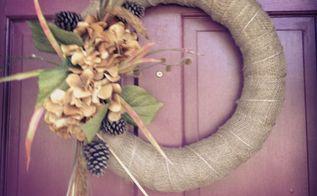 burlap fall wreath, crafts, home decor, wreaths, My burlap fall wreath