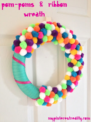 pom pom amp ribbon wreath for the kids, crafts, wreaths