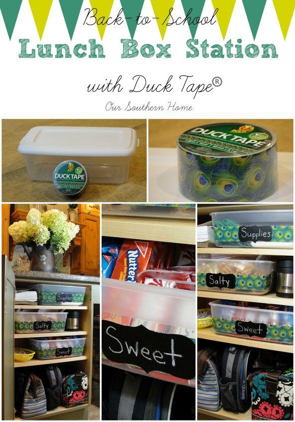 duck tape lunch box station, chalkboard paint, closet, crafts, organizing, storage ideas