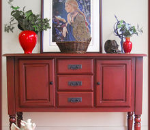 q the red sideboard would you have painted it a brighter red, painted furniture, Finished red sideboard painted and glazed