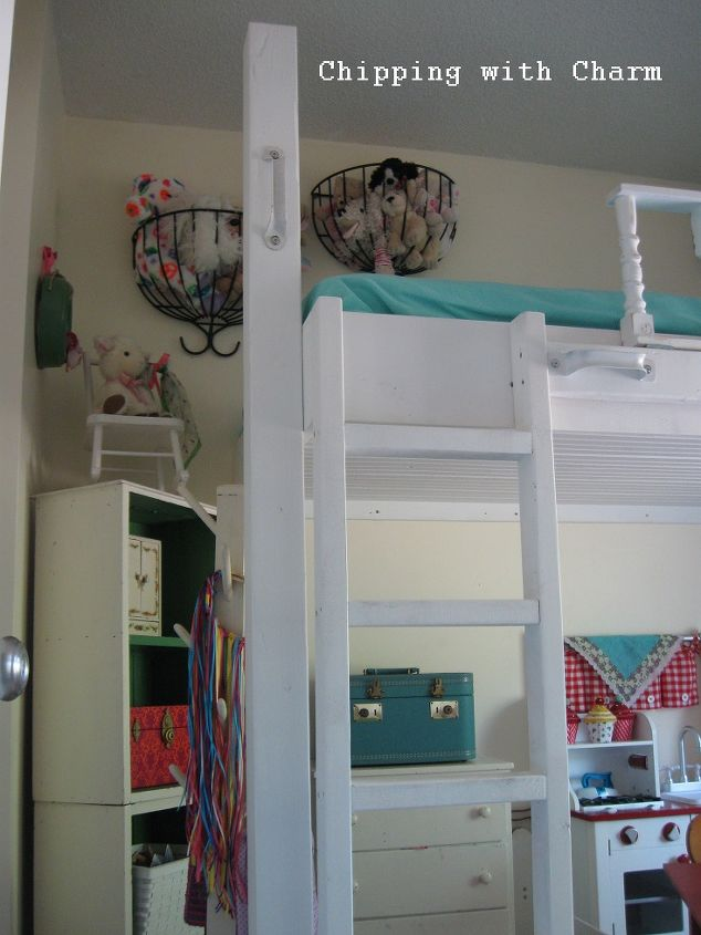 lofted cottage bed for our little girl s dream room, bedroom ideas, diy, home decor, painted furniture, repurposing upcycling, The we attached another 4X4 post for support