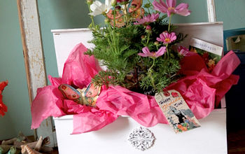 bloomin gifts from salvaged finds, container gardening, gardening, Old mailbox turned colorful and creative gift wrap