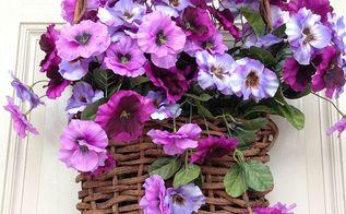spring pansy basket door wreath planter, decks, flowers, gardening, outdoor living, seasonal holiday decor, wreaths