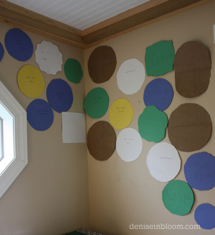 I traced all the plates onto paper, cut them out, and placed them on the wall. This was a great way to start  without hanging plates yet.