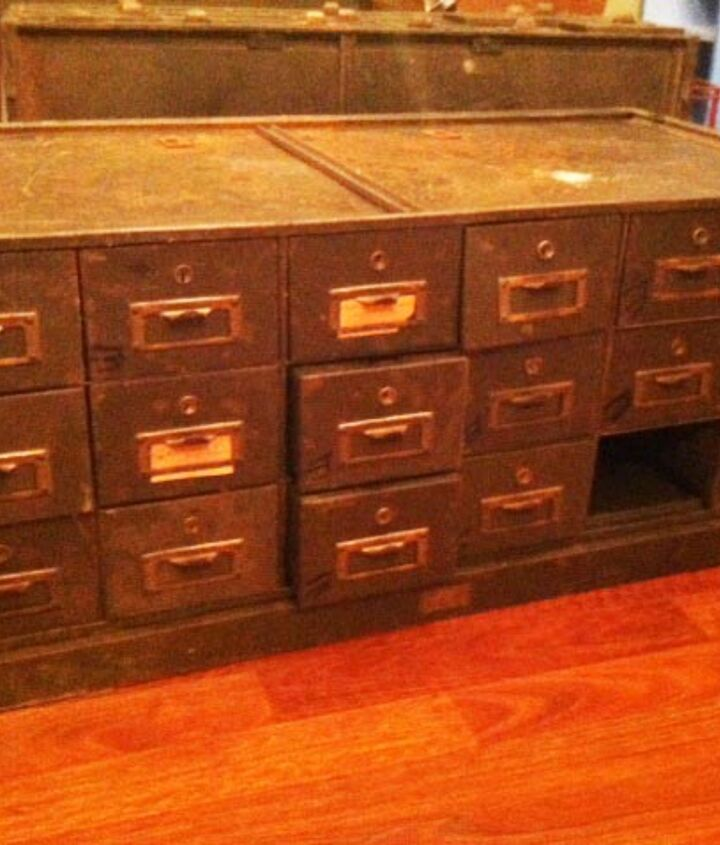 industrial safe deposit boxes turned tv console, painted furniture, repurposing upcycling