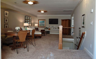 low ceiling solutions the bonus room turns into the upper deck, home improvement, living room ideas, paint colors, painting, wall decor, From the liitle white settee under window