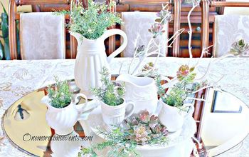 spring table centerpiece with a frosted winter touch, home decor, seasonal holiday decor, Filling pitchers with greenery