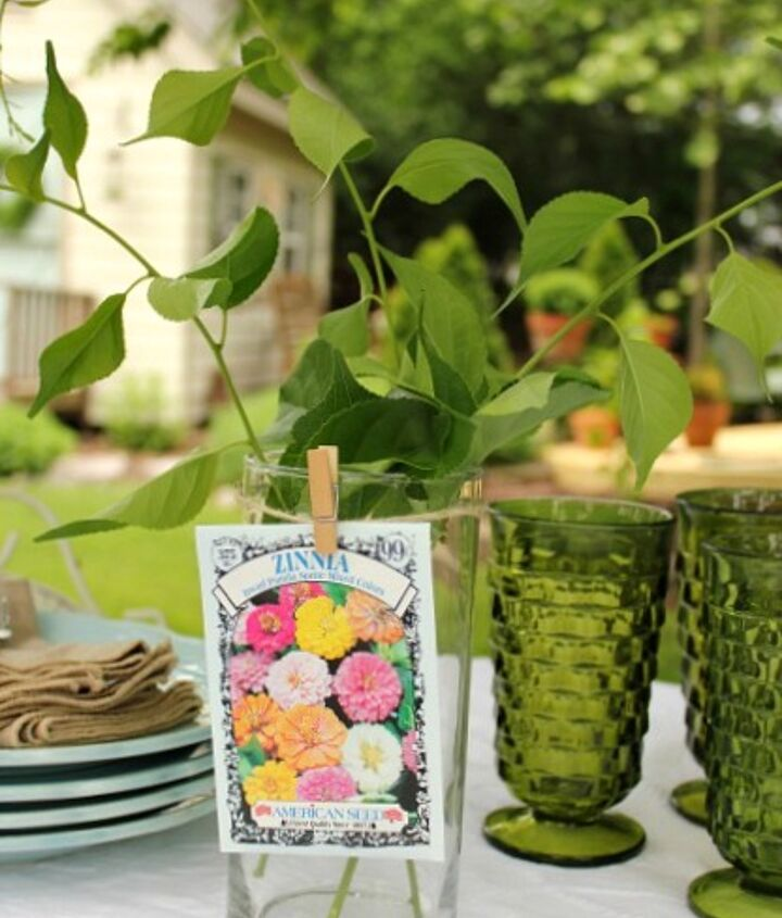 Add twine and clip on a pack of seeds with a tiny clothespin.  The seed packs could then be party favors!