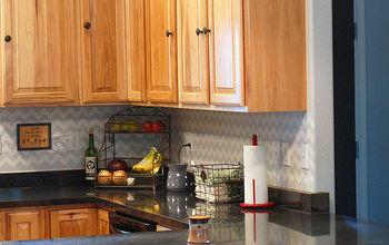 chevron stenciled backsplash, home decor, kitchen backsplash, kitchen design