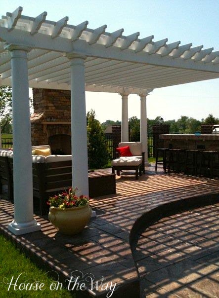 Pergola, outdoor chimney and outdoor kitchen