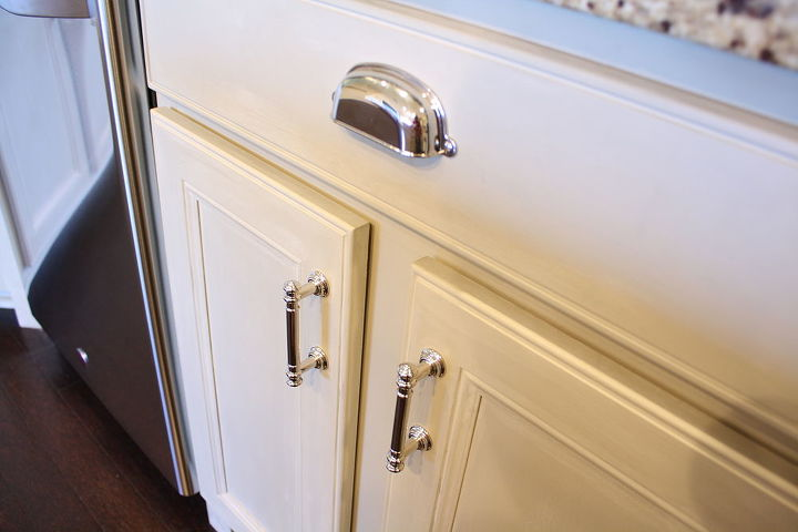 The cabinets are painted using ASCP in Country Gray for the lowers, and Pure White on the upper cabinets.  The pulls are from Home Depot's Martha Stewart line.