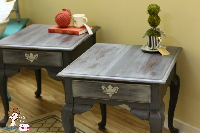 Handpainted Gray French Grain Sack End Tables Chalk Paint Painted Furniture Queen Anne