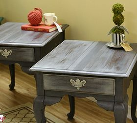 Queen Anne Style End Tables Painted To Look Like French Grain Sacks