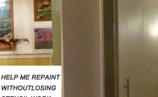 help me paint how to repaint but keep expensive stencils, painting, Sorry for quality not used to inside pic Kitchen and hallway 38 feet long hall 6 ft wide cooking and eating areas both 15 feet wide I don t mind glaze to mute stencils but don t want to give them up Thanks