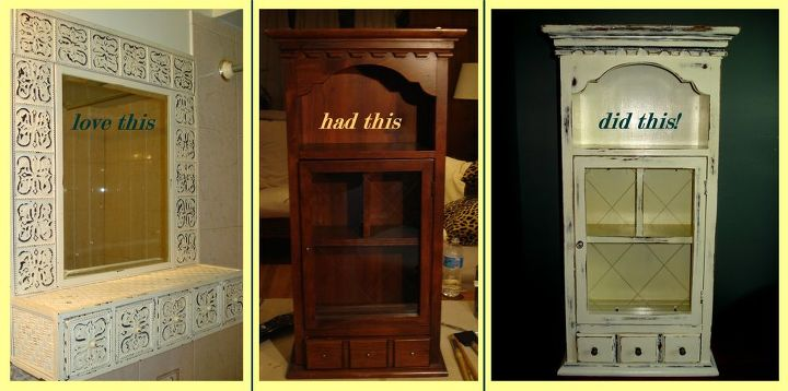 vintage cabinet chic, painted furniture, I loved the unit on the left in my bathroom and had he dark wood unit in the basement so