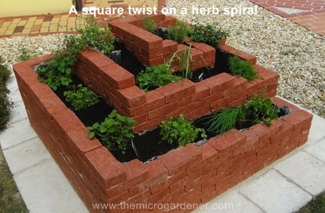 A square twist on a herb spiral garden. Perfect for corporate courtyards or formal gardens.