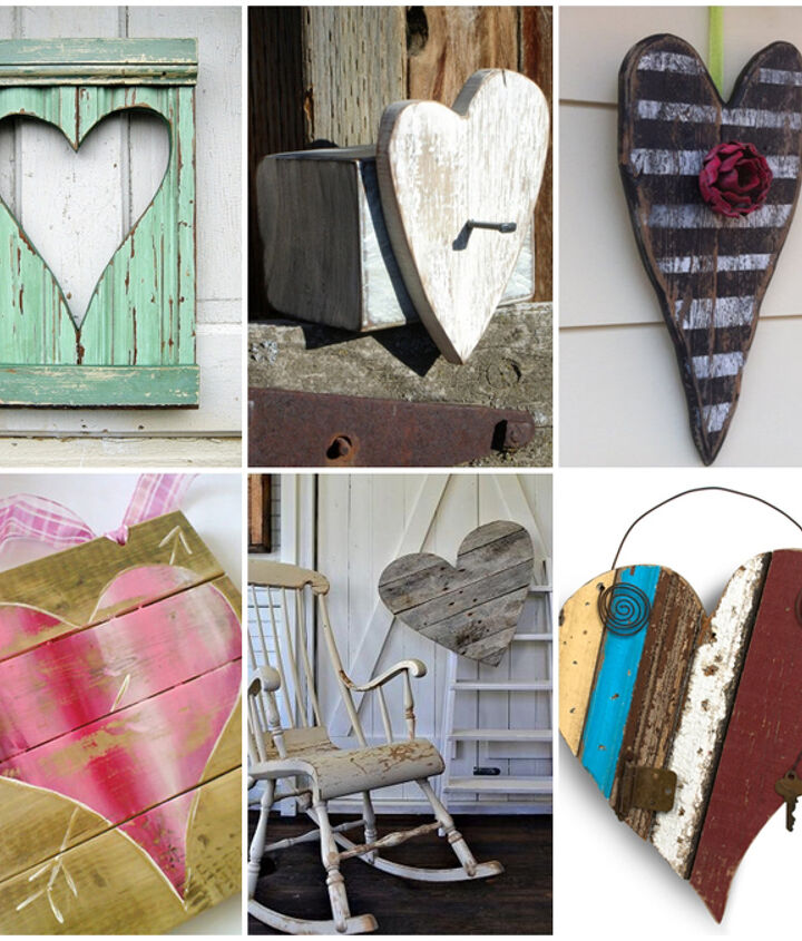 reclaimed and scrap wood hearts for Valentine's Day inspiration
