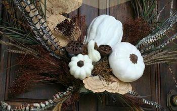 how to create a white pumpkin wreath, crafts, seasonal holiday decor, wreaths, My White Pumpkin Wreath