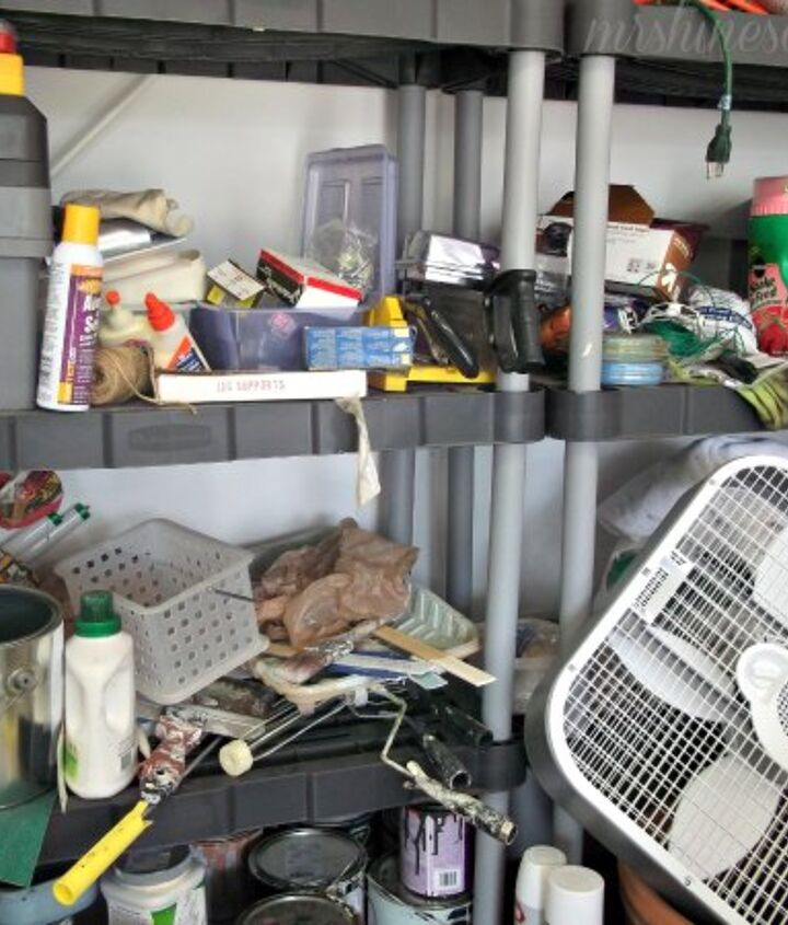a garage makeover, cleaning tips, garages, organizing, The shelves went from lookin like this