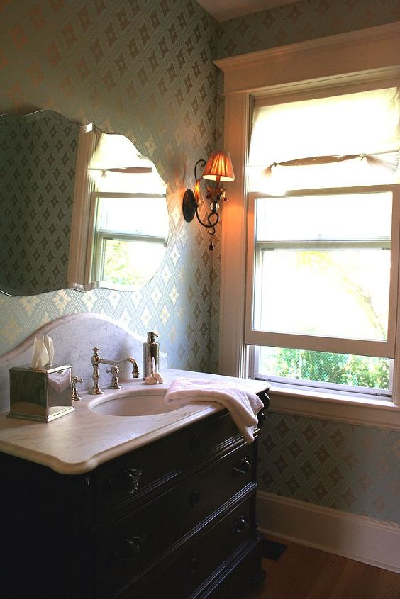 Bathroom remodel w/ Victorian Chest of Drawers Vanity, Marble countertop and Farrow & Ball wallpaper. ~ Titus Built, LLC