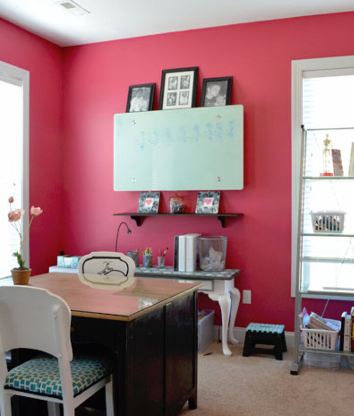 A bright and bold color makes the room a happy place to work.