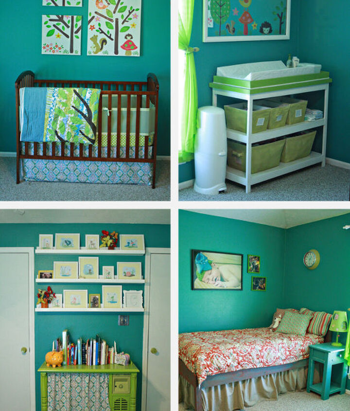 Thrifted crib, hand-built changing table, converted vintage tv bookcase, and a hand-built bed and nightstand