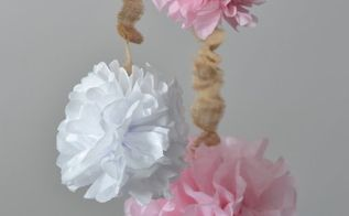 tissue paper pom poms with burlap cord covers, crafts, Hang the pom poms at different heights to add interest