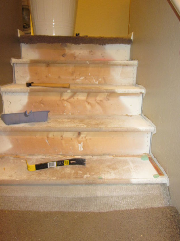 removing carpet from stairs and painting them, painting, stairs, Step 1 Remove the Nasty Carpet from the Stairs