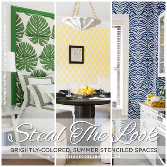steal the look brightly colored summer stenciled spaces, painting
