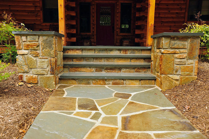 Natural stone entrance and walkway