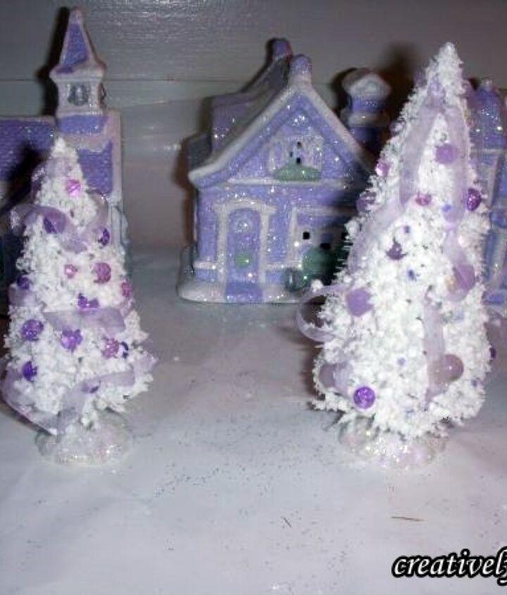Glue beads & organza ribbon to Dollar Tree Bottle brush trees.