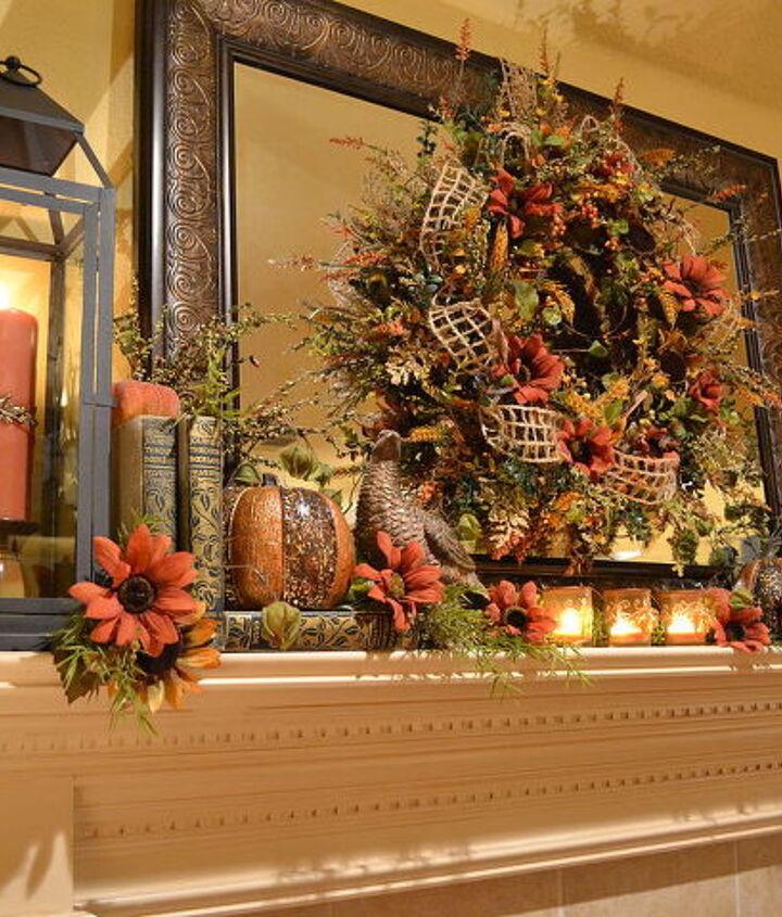 my fall mantel with a warm glow, seasonal holiday d cor, wreaths