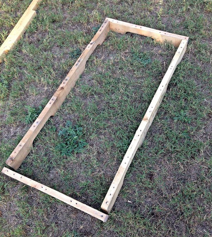 Build your seat from pallet wood 2x4s (usually the supports of the pallet).  The length is the full pallet length and the width is half the length of the pallet