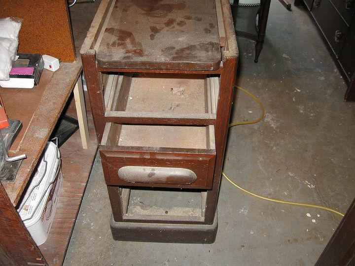 restoration of antique roll top desk, painted furniture, Before Pedestal