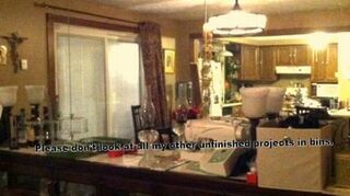 q mirrored bedroom wall, bedroom ideas, home decor, painting, wall decor, Before Picture When we moved in it was just the mirrors and the long counter top type piece I had a china closet custom built under the counter