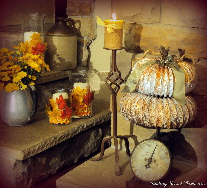 fall blessings mantelscape 2011, fireplaces mantels, seasonal holiday decor, Dryer Vent Pumpkins