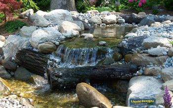 Large pondless waterfall with 14k gal. per/hr. of water rushing through a split stream and over some very large rocks.