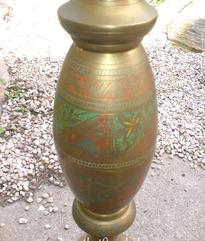 Brass Engraved Thrifed Lamp