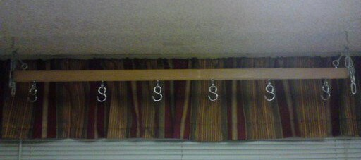 When complete hang your pot rack from the ceiling and your done.